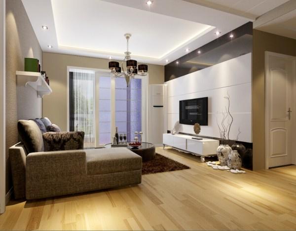 电视背景墙利用白色石膏板和金色的烤漆玻璃相结合,美观时尚大方。在软装配饰的选择上,精致简约又不失典雅的文艺气息。