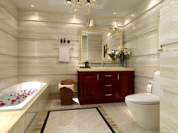 浴室实景图  设计说明:浴室的灯光设计一样非常细致,整体墙地砖采用了同款同风格的。其中,棕红色台柜的融入,为整个空间灌入了跳动的色彩。