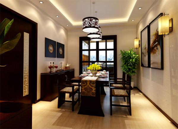 设计理念:餐厅的空间也要体现新中式简洁,利落的中式桌椅对称摆放,划分简单合理,营造充裕的活动空间。鲜花的点缀,更显温馨。
