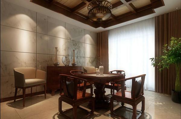 在空间设计材料、色彩运用家具装饰品陈设上对中国文化的再创造使之融入空间,古色古香简约时尚,没有喧嚣与繁冗,一派宁静悠远。