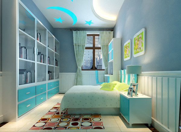 设计理念:整个房间的基调白蓝为主,青春与活力是这个卧室的主题。  亮点:书柜与墙体嵌合为一体,既节约了空间又保证了安全。为孩子的学习与探索提供了方便之门。