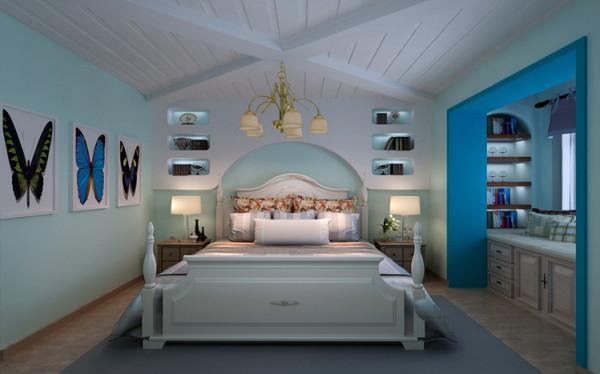 清浅的湖蓝色,用白色色搭配,让卧室充满春日的活力。弧形的床头柜与木床造型相仿,颇具童话般纯真可爱的感觉。