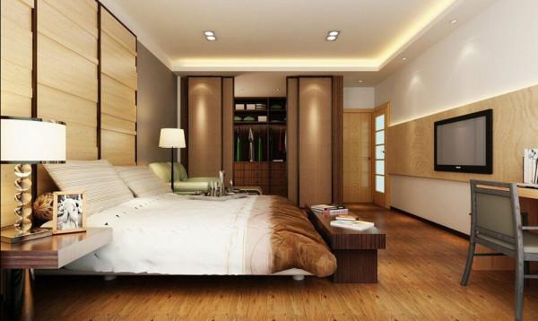 主卧室-减少反射材质与花俏手法,使用凹凸层次的木纹床头板,以及编织的墙纸美化更衣室拉门,处处皆有令人倍感放松的特质。