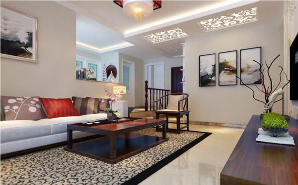 设计理念:走廊和客厅融为一体来修饰这整个空间。稳重的红木家具体现着古典感,与云朵般纯粹的洁白,相互渗透,形成鲜明的对比。