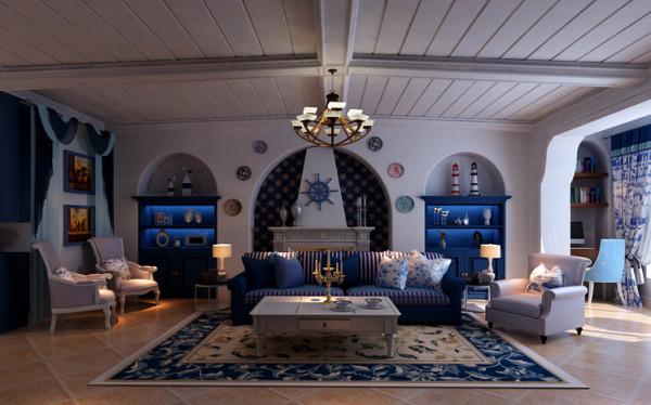 客厅以地中海风格为主,以象牙白为主色调,以浅色为主深色为辅。相对比拥有浓厚欧洲风味的地中海装修风格,地中海更为清新、也更符合中国人内敛的审美观念。