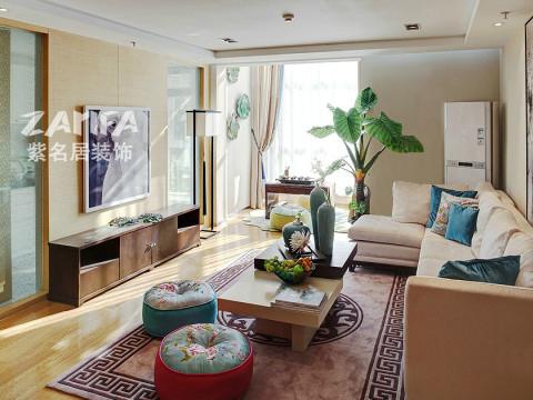 三居 混搭 白领 收纳 小资 客厅图片来自紫名居装饰在五矿九玺台三居室混搭的分享