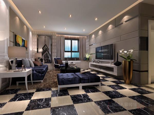 电视墙的浅色软包不失沉稳而又简单活跃,搭配沙发墙的白色护墙板及精美壁画是主人高贵的身份的另一种诠释。