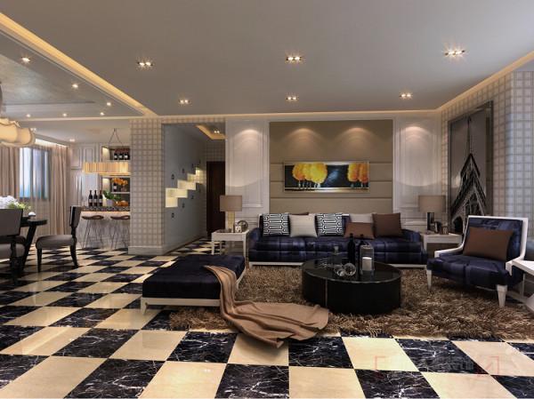 门厅采用双拼色地砖菱形铺贴,给人亮眼的视觉感受。进入客厅双色大砖深浅搭配正铺,在配以地毯的点缀带给人的视觉冲击即华丽又不凌乱。