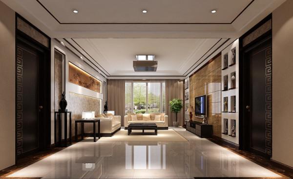 材料运用,黑檀木,米白色大理石,为房间气氛添姿.黑檀木深沉低调,不乏现代感.电视柜大胆 选用米色洞石悬挂,与深色木地板材料对比,相得益彰.