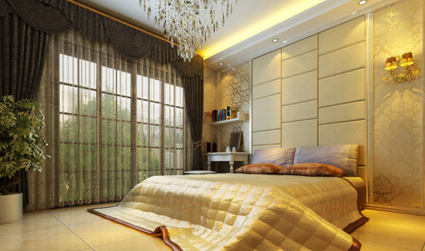 设计理念:卧室是为家人提供睡眠、休息的场所,当然要有一个安静的环境。 亮点:卧室设计的一切都应该围绕着提高舒适性、方便性来展开:小到床头灯、换衣凳等。