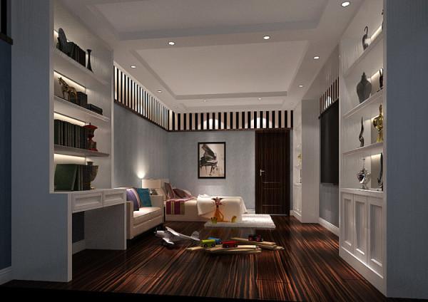 儿童房则偏向恬淡的浅色系 极具代表性的苏州园林符号语言,使这个普通空间彰显不平凡的一面..客厅整体家具既有现代简约的沙发,又有传统古典的明式家具,在家具设计上也不忘为新中式添以这厚重的一笔.
