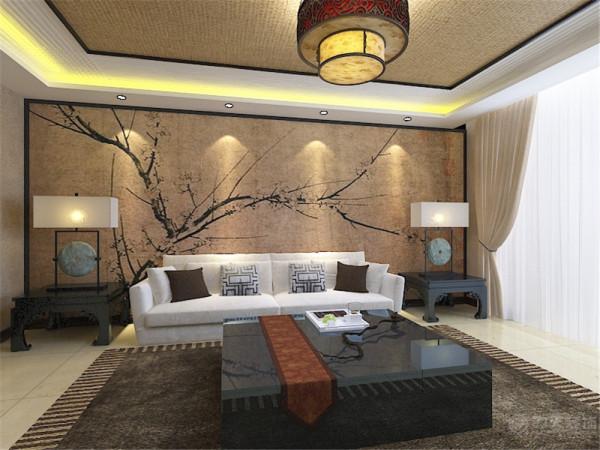 客餐厅区域的地面铺装选择了800*800的大理石铺装,方便清理的同时,空间显得更加大。客餐厅区域的墙面选择了米色的乳胶漆,符合整体的中式风格。