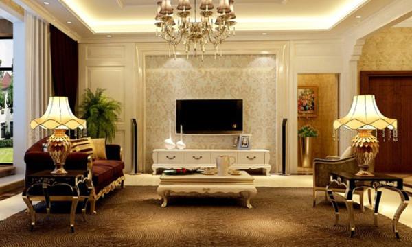 电视墙,石家庄轻舟装饰-建投十号院251平美式新古典装修效果图