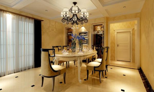 餐厅,石家庄轻舟装饰-建投十号院251平美式新古典装修效果图