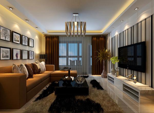 橡树玫瑰城三室两厅装修方案---客厅装修效果图