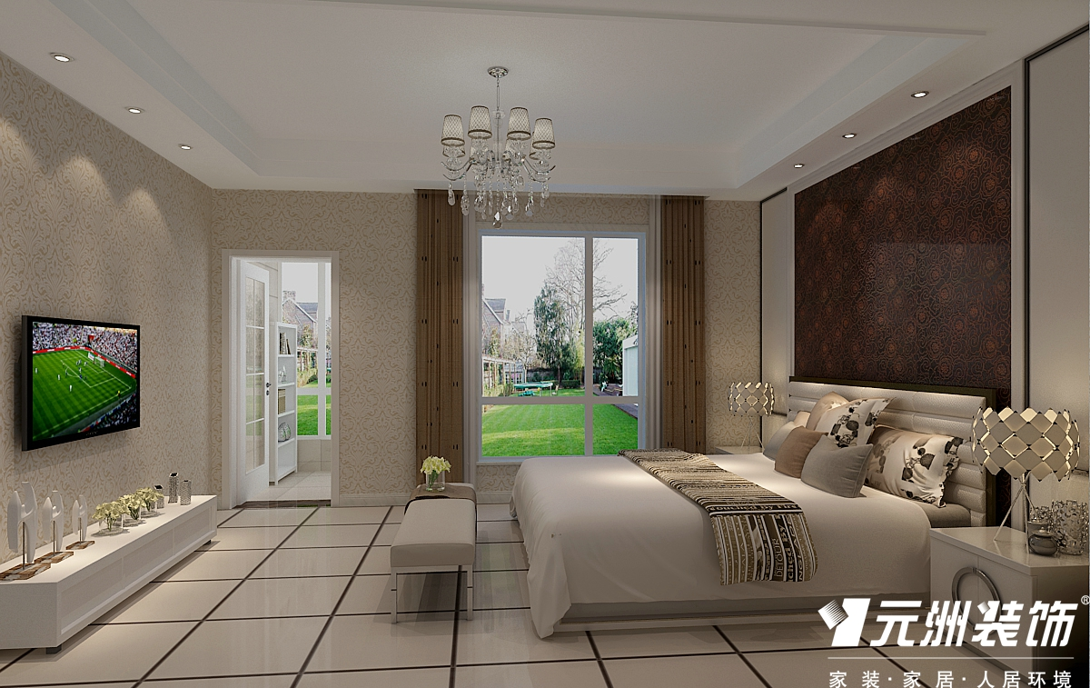 现代简约 200国仕山 四居室现代 欧式 80后 卧室图片来自石家庄-小程在国仕山200平现代简约风格效果图的分享