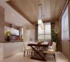 充分体现了现代感,冰箱恰到好处的放在角落充分合理利用了空间,明亮开阔,又极具现代时尚感。大面积的生态木,棕色的窗帘色调柔和,空间变得柔和自然。一个自然温馨的用餐空间。