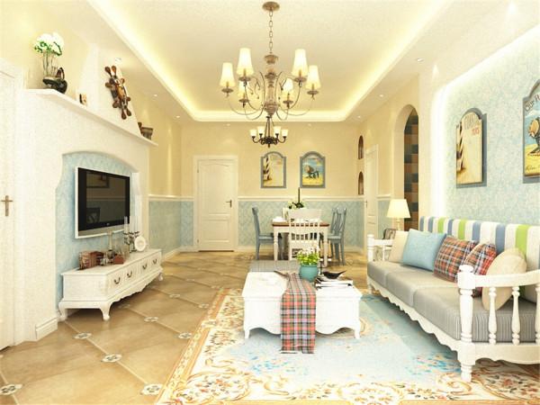 整个家的墙面运用的是浅黄色,电视背景墙是用白色石膏做出来的造型,中间的部分贴有墙纸,墙上挂有电视柜,都使比较大方简洁。沙发背景墙以地中海特有的拱形做的造型,中间贴有壁纸加上照片进行点缀。