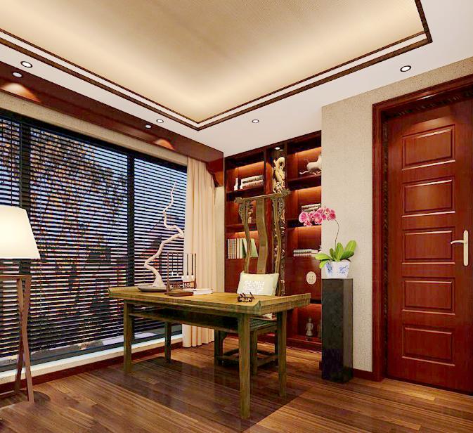 书房图片来自唯美装饰在都市经典180平简约中式风格的分享