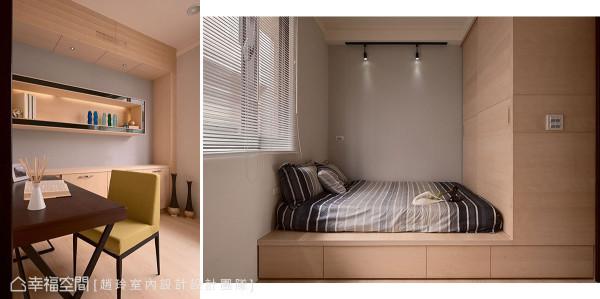 与小女孩房相仿的格局中,透过寝饰与色彩、家具线条的变化,呈现截然不同的空间氛围。