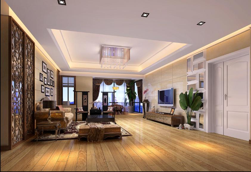 客厅图片来自唯美装饰在都市经典180平简约中式风格的分享