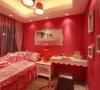 儿童房;采用粉红色的涂料配以白色的家具,加以童趣的装饰营造出一个小公主的地理空间。
