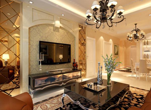 电视背景墙采用欧式造型石材加壁纸搭配茶色客厅的设计地面铺上了深咖色带花纹的地毯,地毯的舒适脚感和典雅的独特质地与欧式沙发的搭配相得益彰。