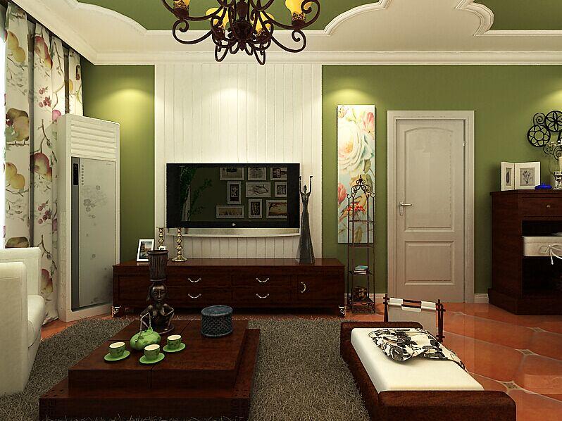 客厅图片来自郑州实创装饰-黄玲在盛润锦绣城美式风格三室两厅装修的分享