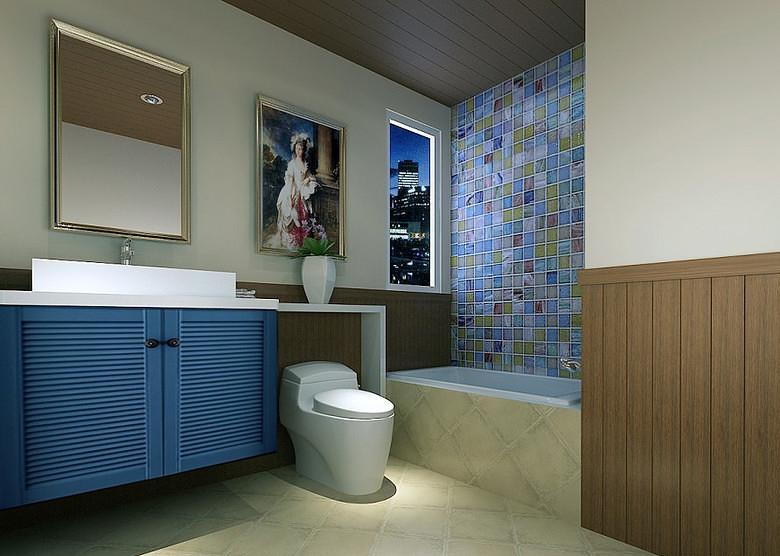 卫生间图片来自家装大管家在132平地中海3居 缔造不一样生活的分享