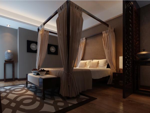 次卧;中式古典有特色的大床配以古色古香的装饰陪一深色墙纸涂料营造出一种艺术御现代时尚结合的居住空间.