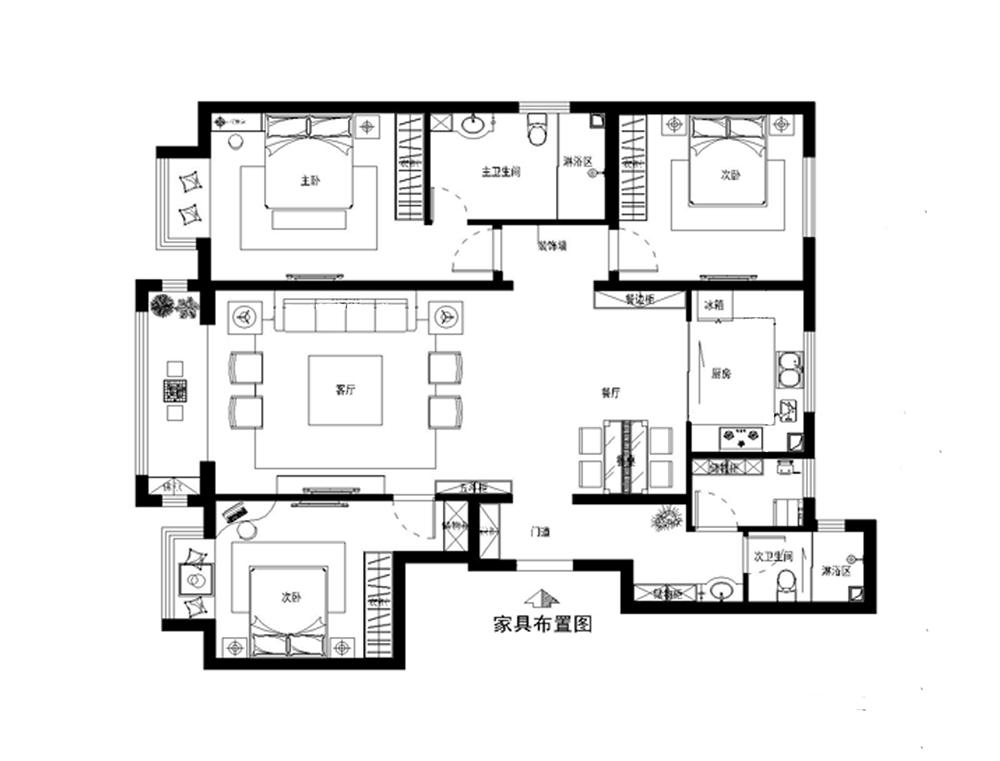 三居 中式 白领 收纳 户型图图片来自装饰装修-18818806853在典雅新中式三居的分享