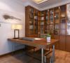 轻工业家属院三室两厅130平方装修案例,书房书架新中式装修效果图
