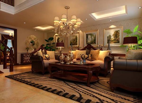 整体风格欧式简约偏暖色调,樱桃木家具结合布艺,使空间看上去大气,简洁、明快 亮点:客厅挑空部分使背景墙的增加,运用大理石做效果更突出,两边的罗马柱更加深欧式风格特点。