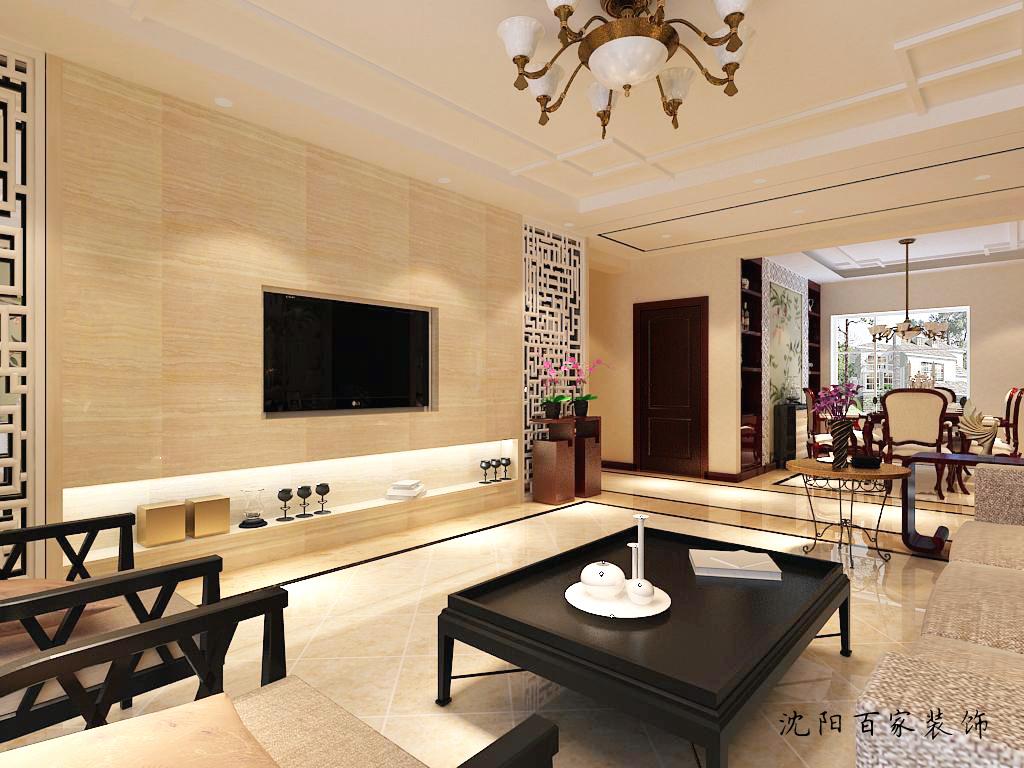 新中式 三居 客厅 餐厅 白领 小资 80后 简约 电视背景墙图片来自百家装饰小米在沈阳保利达江湾城的分享