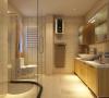厨卫:暖色瓷砖陪 原木色的浴室柜形成一种温馨而怀旧强烈视觉冲击