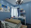 次卧则为男孩房,墙面用蓝色乳胶漆处理,配合卡通的挂画,使空间充满了童趣。