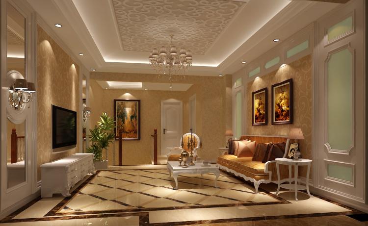 简欧 别墅 客厅图片来自高度国际宋书培在鲁能七号院—别墅装饰效果图的分享