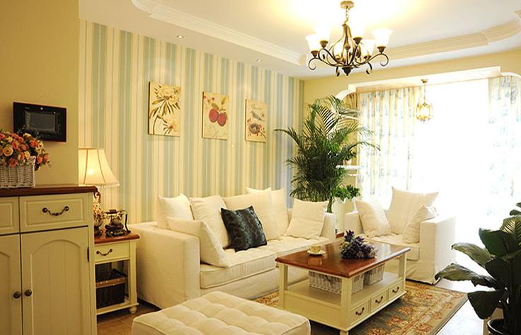 客厅图片来自百合居装饰工程有限公司在浪漫田园--理工东苑的分享