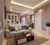 该户型的设计风格为现代简约风格。整个空间以暖色调为主,暖色的光源给空间营造了温馨舒适的感觉。
