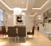 餐厅: 通过顶面的处理,吊顶的造型,区分客餐厅的区域,这样一进门,客厅和餐厅还是会有一个比较宽广的视野,也显得更加大气。