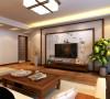 轻工业家属院三室两厅两卫130平方户型案例,客厅新中式装修效果图