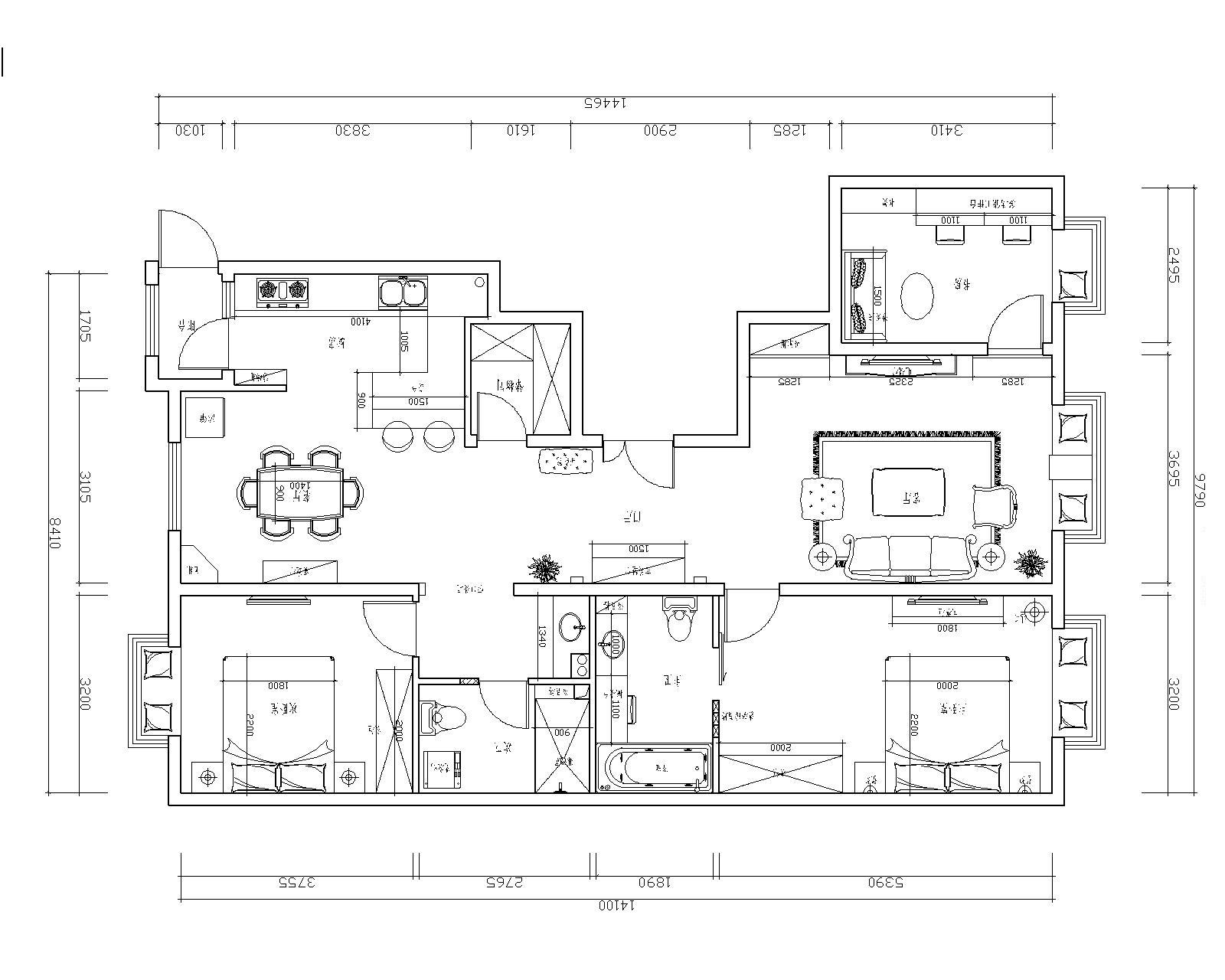 三居 欧式 简约欧式 80后 婚房 户型图图片来自实创装饰都琳在80后大爱简欧风格的分享