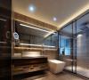 厨卫:黑檀木色的浴室柜配以木纹砖,托出一种经典与时尚的结合
