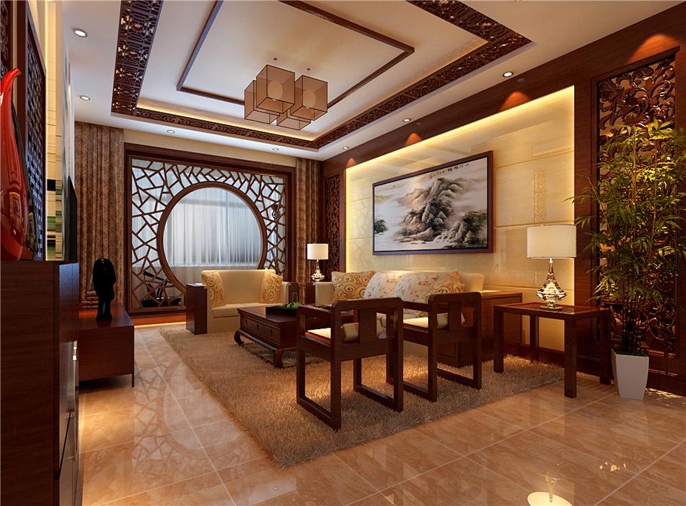 三居 中式 白领 收纳 客厅图片来自装饰装修-18818806853在典雅新中式三居的分享