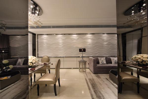 以地砖石材玻璃为主体营造出强烈的现代前卫风格而不失温馨