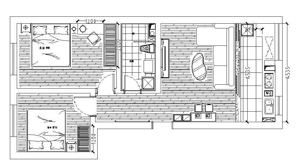 简约 二居 户型图图片来自沈阳新饰家装饰在中粮·隆玺一号75平3.4万的分享