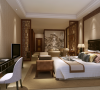 主卧室:中式隔断把房间份个出一个休闲区暖色墙布陪和床头背景营造出一个集居住休闲办公一体化的的理想空间。