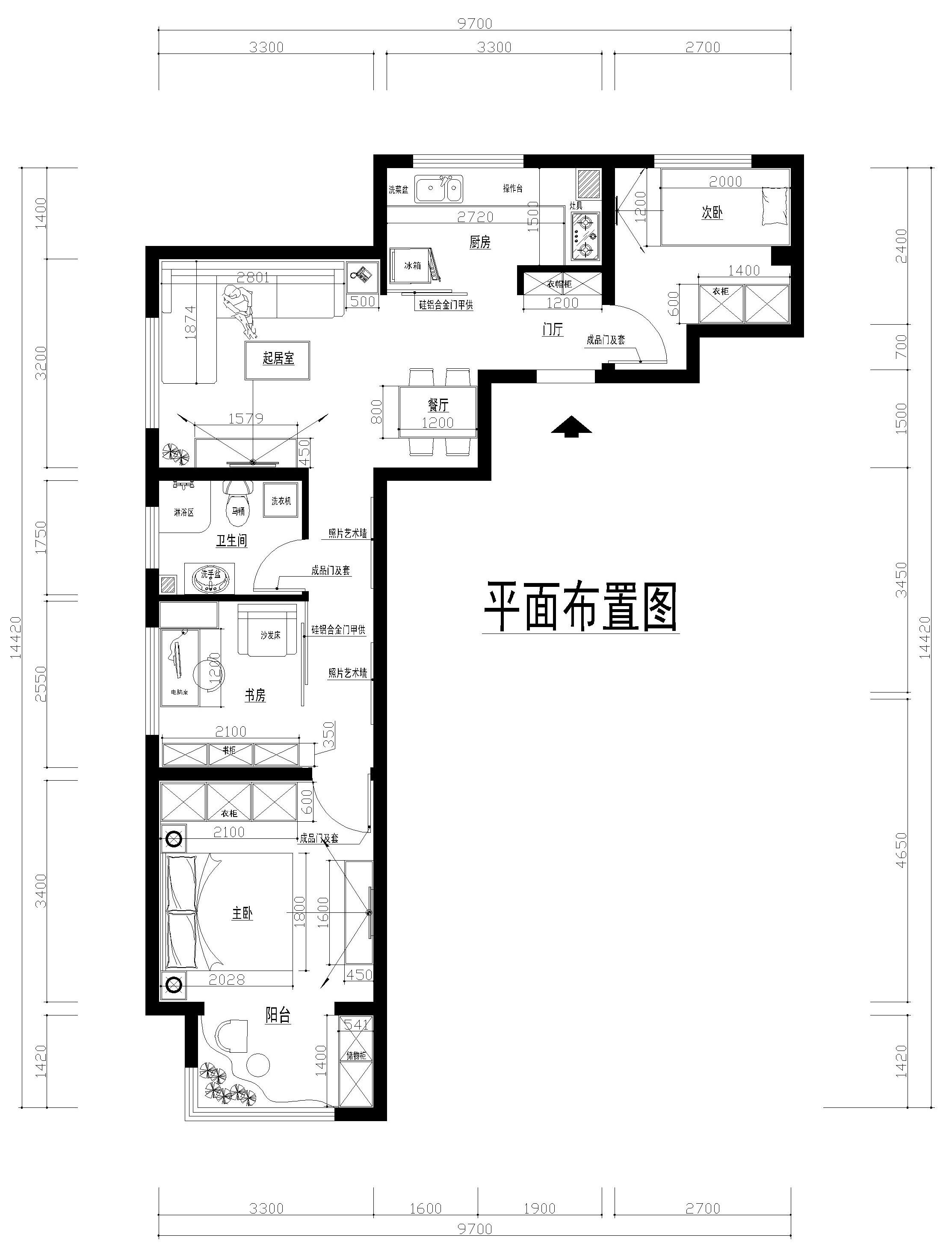 简约 三居 金隅泰和园 户型图图片来自shichuangyizu在金隅泰和园的分享