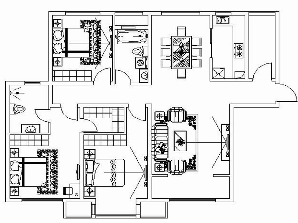 简约 三居 别墅 白领 收纳 旧房改造 80后 小资 户型图图片来自阳光力天装饰梦想家更爱家在海河大观3室户型3室2厅2卫160㎡的分享