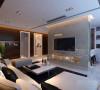 客厅整体以深咖色为主色调,采用打破常规的布局方案,将电视墙造型直立在客厅中间,兼顾装饰与储物两个功能,整体感觉简洁明快且不失档次,既满足主人的生活需求,又不失简单大方。